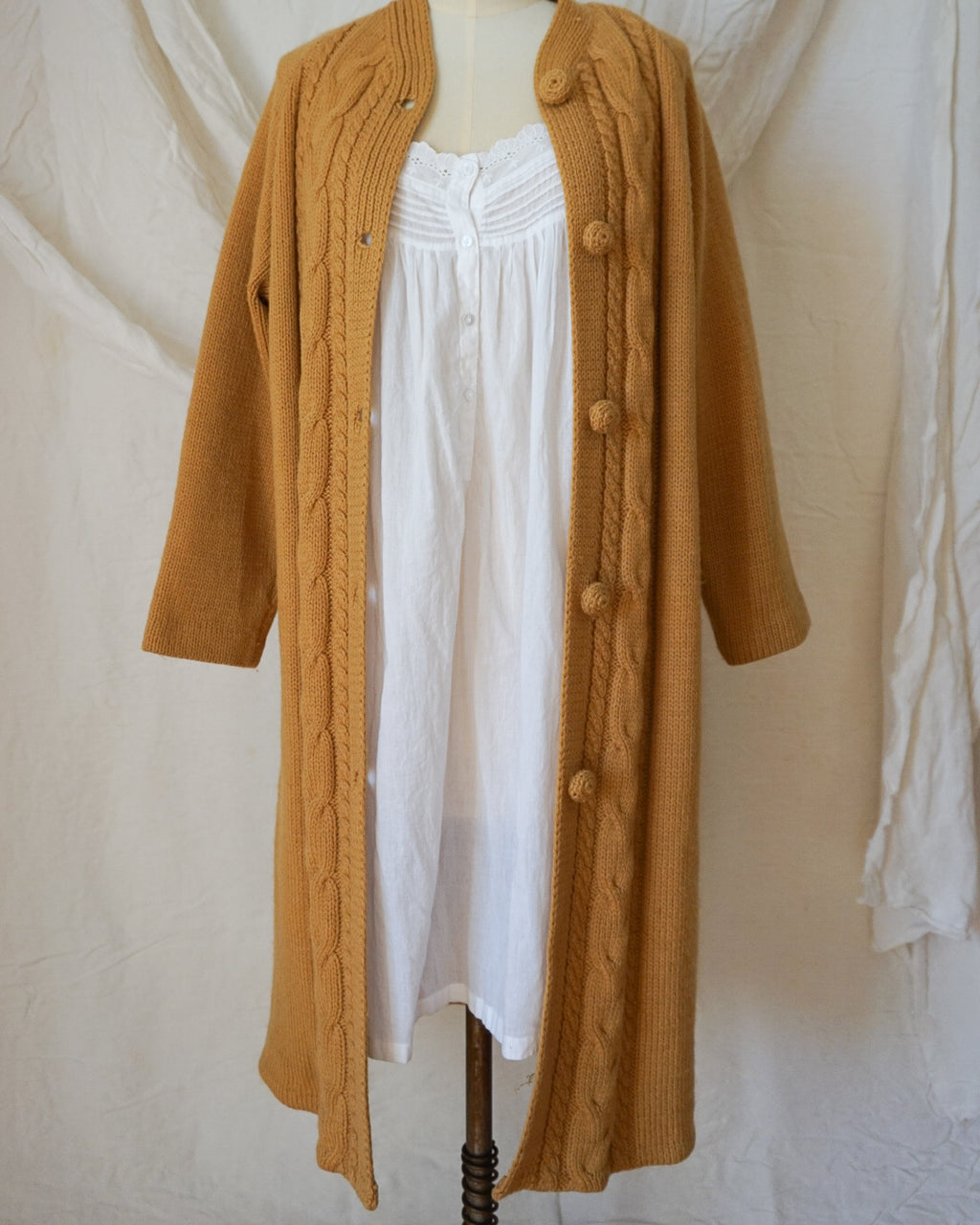 Vintage Hand-Knit Long Cardigan