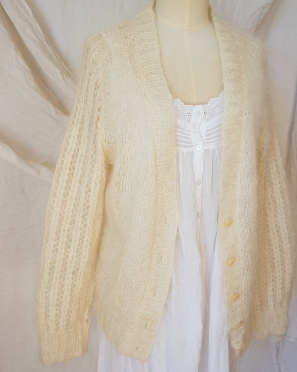 Vintage Fluffy Hand-Knit Mohair Cardigan