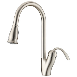 KODAEN, F-23129 Brush Nickel, Single Hole, Single Handle, Pull-Out Kitchen Faucet - CCSUPPLY INC.