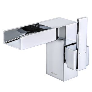KODAEN, F-11101 Chrome, Single Handle, Single Hole WaterFall Bathroom Faucet - CCSUPPLY INC.