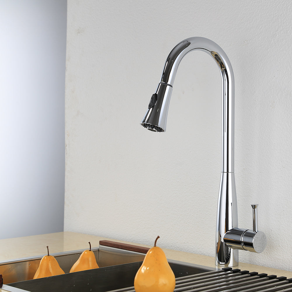 KODAEN, F-23127 Chrome, Single Handle, Single Hole, 2 Mode, pull-Out Kitchen Faucet - CCSUPPLY INC.