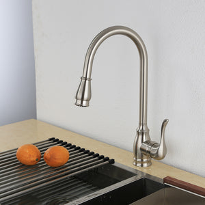 KODAEN, F-23125 Brush Nickel, Single handle, Single Hole, Pull-Out Kitchen Faucet - CCSUPPLY INC.