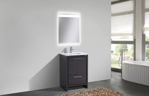 "DOLCE-24"" Kubebath, Gray Oak, Floor Standing Modern Bathroom Vanity - CCSUPPLY INC."