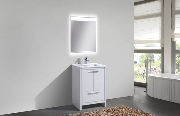 "DOLCE - 24"" Kubebath, Gloss White, Floor Standing Modern Bathroom Vanity - CCSUPPLY INC."