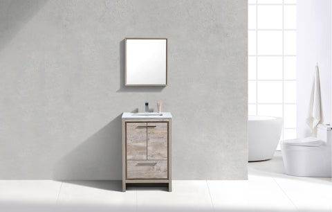"DOLCE-24"" Kubebath, Nature Wood, Floor Standing Modern Bathroom Vanity - CCSUPPLY INC."