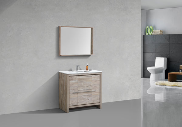"DOLCE- 36"" Kubebath, Nature Wood, Floor Standing Modern Bathroom vanity - CCSUPPLY INC."