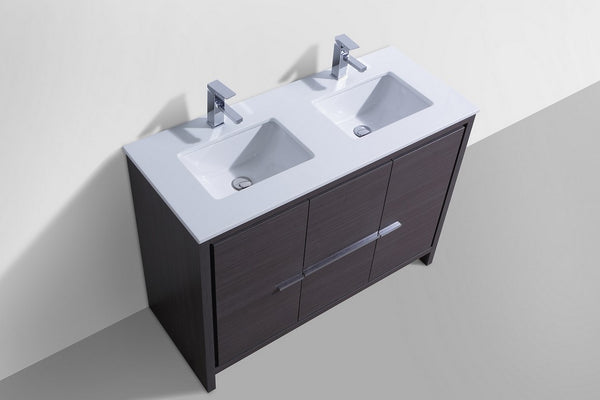 "DOLCE- 48"" Kubebath, Gray Oak, Double Sink, Floor Standing Modern Bathroom vanity - CCSUPPLY INC."