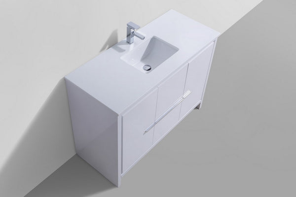 "DOLCE-48"" Kubebath, Gloss White, Single Sink, Floor Standing Modern Bathroom Vanity - CCSUPPLY INC."