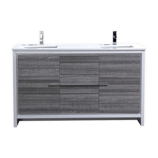 "DOLCE- 60"" Kubebath, Ash Gray, Double Sink, Floor Standing Modern Bathroom Vanity - CCSUPPLY INC."