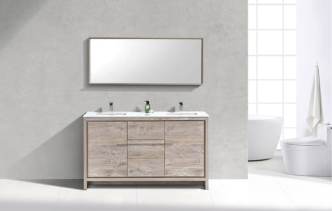 "DOLCE- 60"" Kubebath, Nature Wood, Double Sink, Floor Standing Modern Bathroom Vanity - CCSUPPLY INC."