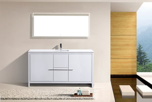 "DOLCE- 60"" Kubebath, Gloss White, Single Sink, Floor Standing Modern Bathroom Vanity - CCSUPPLY INC."
