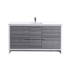 "DOLCE- 60"" Kubebath, Ash Gray, Single Sink, Floor Standing Modern Bathroom Vanity - CCSUPPLY INC."