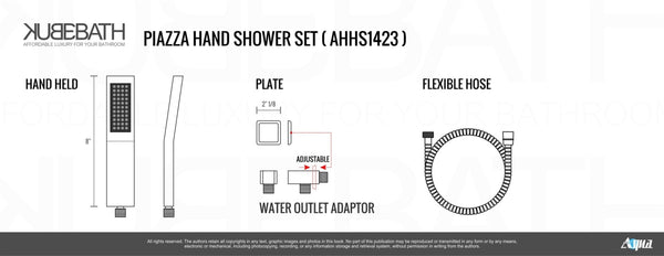 Aqua Piazza- Matt Black Shower Faucet With 8″ Ceiling Mount Square Rain Shower, Handheld and Tub Filler - CCSUPPLY INC.