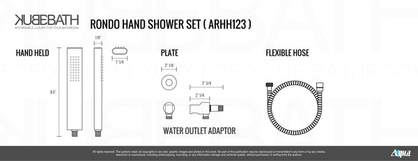 Aqua Rondo- Shower Faucet With 8″ Rain Shower, Handheld and Tub Filler - CCSUPPLY INC.