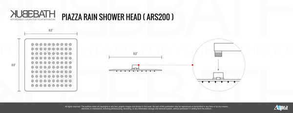 Aqua Piazza- Chrome Shower Faucet with 8″ Square Rain Shower Head - CCSUPPLY INC.
