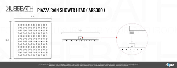 Aqua Piazza- Matt Black Shower Faucet With 12″ Ceiling Mount Square Rain Shower and 4 Body Jets - CCSUPPLY INC.