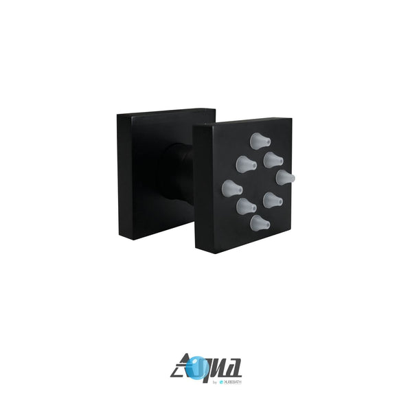 Aqua Piazza- Matt Black Shower Faucet With 12″ Square Rain Shower and 4 Body Jets - CCSUPPLY INC.