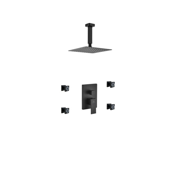 Aqua Piazza- Matt Black Shower Faucet With 8″ Ceiling Mount Square Rain Shower and 4 Body Jets - CCSUPPLY INC.