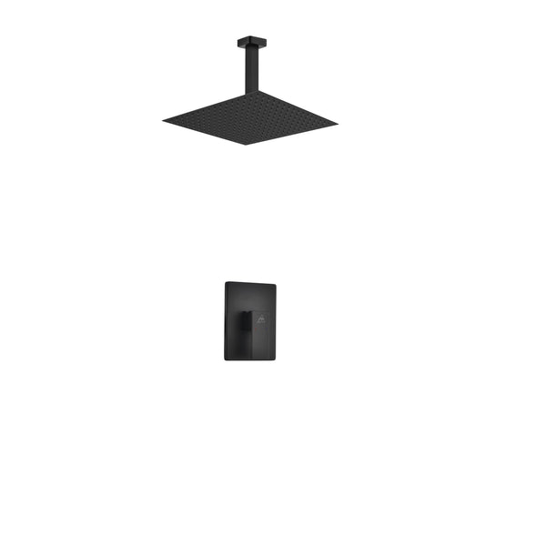 Aqua Piazza- Matt Black Shower Faucet With 12″ Ceiling Mount Square Rain Shower - CCSUPPLY INC.