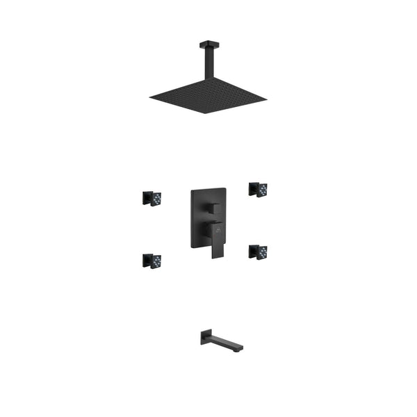Aqua Piazza- Matt Black Shower Faucet With 12″ Ceiling Mount Square Rain Shower, Tub Filler and 4 Body Jets - CCSUPPLY INC.