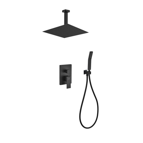 Aqua Piazza- Matt Black Shower Faucet With 12″ Ceiling Mount Square Rain Shower and Handheld - CCSUPPLY INC.