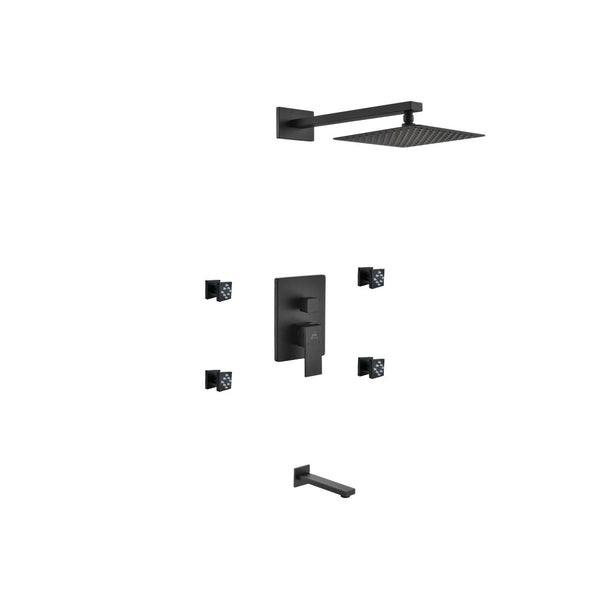 Aqua Piazza- Matt Black Shower Faucet With 8″ Square Rain Shower, 4 Body Jets and Tub Filler - CCSUPPLY INC.