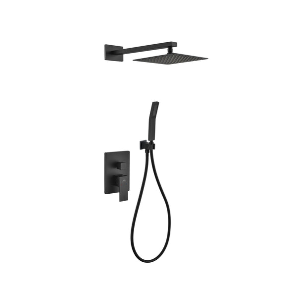 Aqua Piazza- Matt Black Shower Faucet With 8″ Square Rain Shower and Handheld - CCSUPPLY INC.