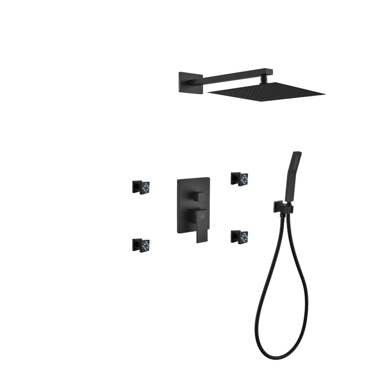 Aqua Piazza- Matt Black Shower Faucet With 12″ Square Rain Shower, Handheld and 4 Body Jets - CCSUPPLY INC.
