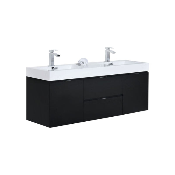 BLISS- 60″ Wall Mount Double Sink Modern Bathroom Vanity - CCSUPPLY INC.