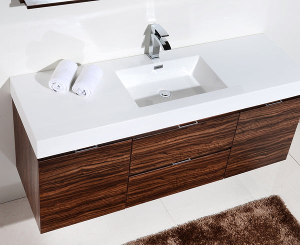 BLISS- 60″ Wall Mount Single Sink Modern Bathroom Vanity - CCSUPPLY INC.