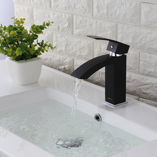 KODAEN, F-11103 Matt Black, Single Handle, Single Hole Bathroom Faucet - CCSUPPLY INC.