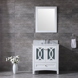 "CCS11-30"" Bright White Bathroom Vanity With Quartz Countertop - CCSUPPLY INC."