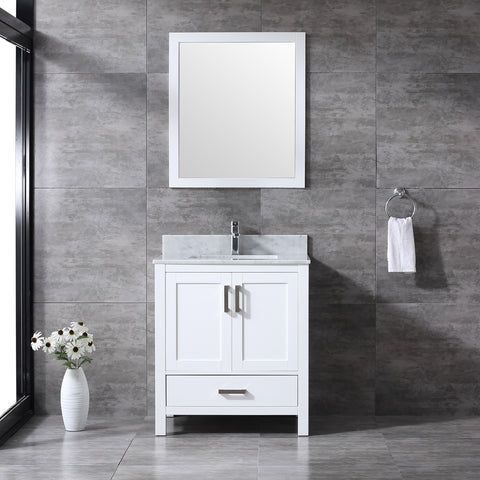 "CCS20-30"" Bright White Bathroom Vanity With Quartz Countertop - CCSUPPLY INC."