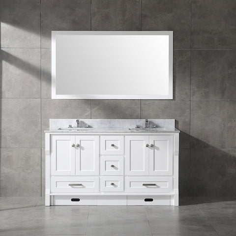 "CCS31-60"" White Bathroom Vanity With 3/4"" Quartz Countertop - CCSUPPLY INC."