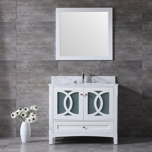 "CCS11-36"" Bright White Bathroom Vanity with 3/4"" Quartz Top - CCSUPPLY INC."