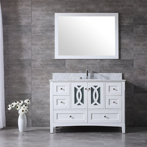 "CCS11-48"" Bright White Bathroom Vanity With 3/4"" Quartz Top - CCSUPPLY INC."