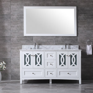 "CCS11-60""Bright White Bathroom Vanity With 3/4"" Quartz Top - CCSUPPLY INC."
