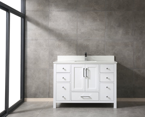 "CCS20-48"" Bright White Bathroom Vanity With 3/4"" Quartz Top - CCSUPPLY INC."