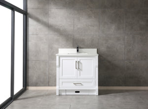 "CCS31-36"" White Bathroom Vanity with 3/4"" Quartz Countertop - CCSUPPLY INC."