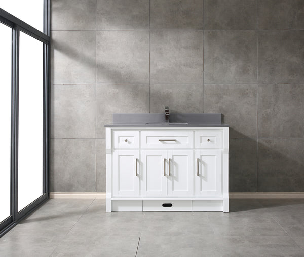 "CCS31-48"" White Bathroom Vanity With 3/4"" Quartz Countertop - CCSUPPLY INC."