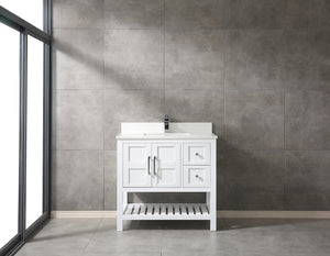 "CCS354-36"" White Bathroom Vanity With 3/4"" Quartz Countertop - CCSUPPLY INC."