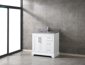 "CCS60-36"" White Bathroom Vanity With 3/4"" Quartz Top - CCSUPPLY INC."