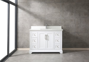 "CCS60-48"" White Bathroom Vanity With 3/4"" Quartz Top - CCSUPPLY INC."