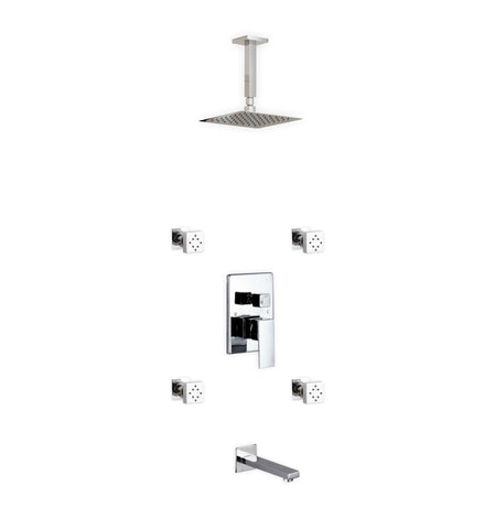 Aqua Piazza- Shower Faucet With 8″ Ceiling Mount Square Rain Shower, Tub Filler and 4 Body Jets - CCSUPPLY INC.