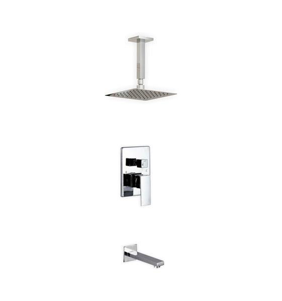 Aqua Piazza- Shower Faucet With 8″ Ceiling Mount Square Rain Shower and Tub Filler - CCSUPPLY INC.