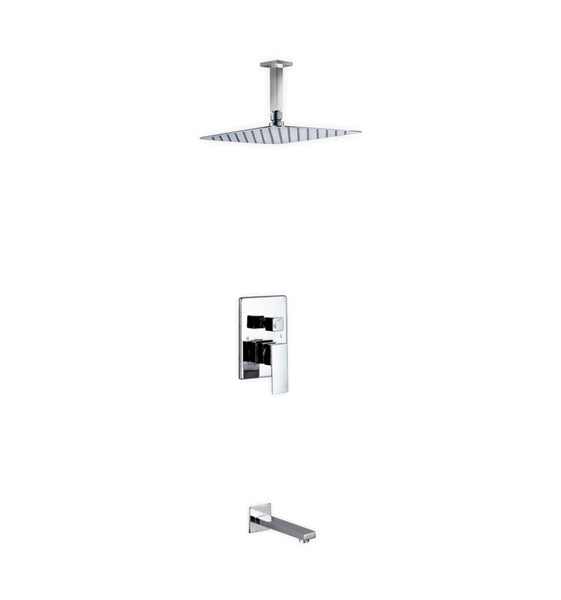 Aqua Piazza- Shower Faucet With 12″ Ceiling Mount Square Rain Shower and Tub Filler - CCSUPPLY INC.