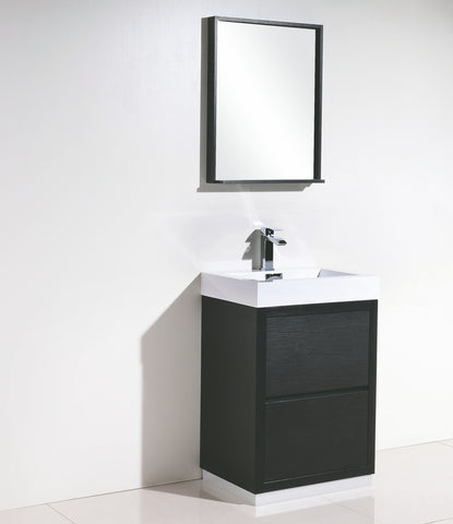 "BLISS 24"" Kubebath, Black Floor Standing Modern Bathroom Vanity - CCSUPPLY INC."