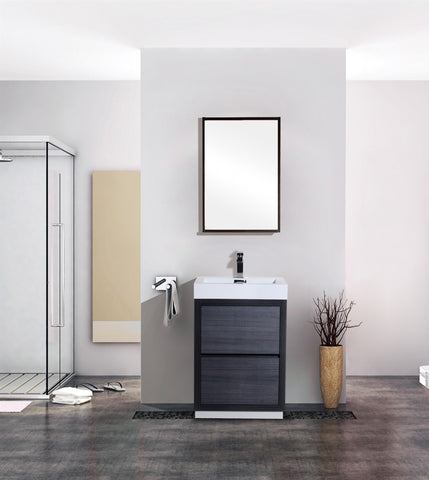"BLISS 24"" Kubebath Gray Oak, Floor Standing Modern bathroom Vanity - CCSUPPLY INC."
