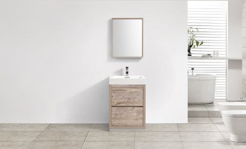 "BLISS 24"" Kubebath Nature Wood, Floor Standing Modern Bathroom Vanity - CCSUPPLY INC."