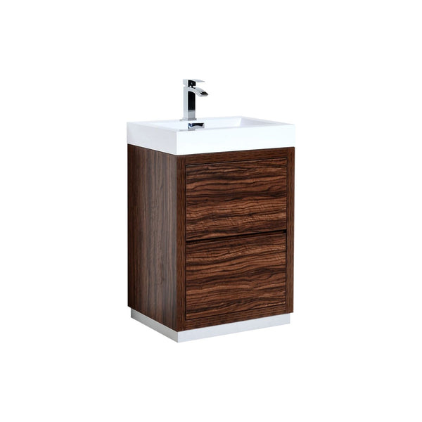 "BLISS 24"" Kubebath Walnut, Floor Standing Modern Bathroom Vanity - CCSUPPLY INC."